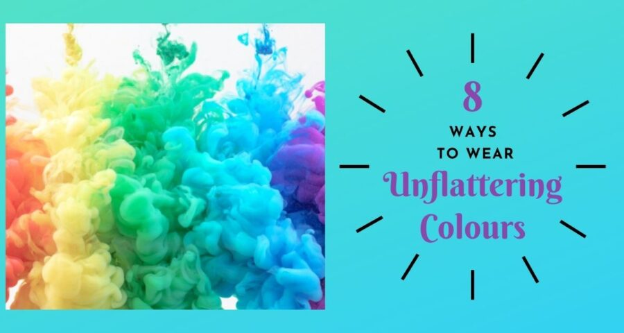 An picture of orange, yellow, green and blue clouds on the left hand side. The blog title, 'Eight ways to wear unflattering colours.' by Ann Vodicka, colour specialist, is on the right hand side.