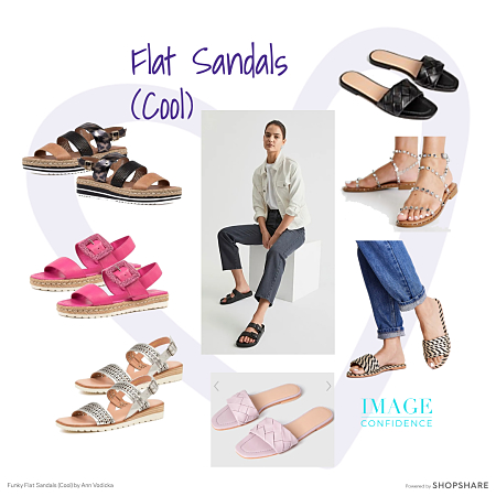 Funky flat, open-toed sandals in cool colours - perfect for spring and summer outfits