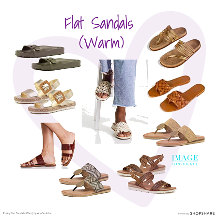 Stylish flat, open-toed sandals in warm colours - perfect for spring and summer outfits.