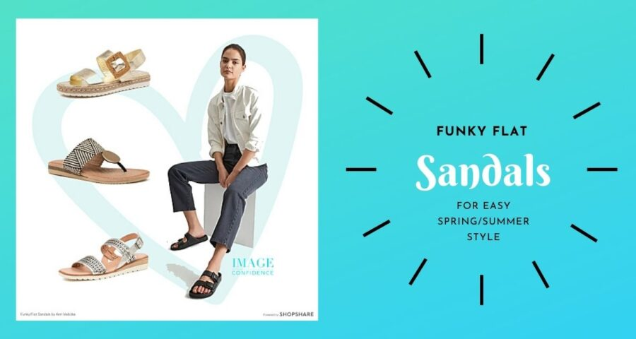 A selection of funky flat sandals to wear this spring and summer The blog is written by Ann Vodicka, personal stylist Sydney