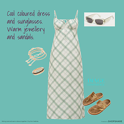 Green and white chequered dress, sunglasses, and gold jewellery and sandals.