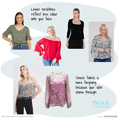 Models wear tops with low necklines and tops made from sheer fabric. These are two ways to wear unflattering colours.